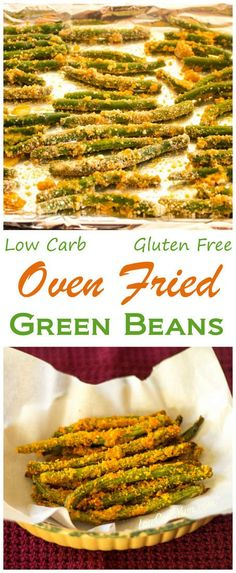 Enjoy these tasty low carb gluten free oven fried green beans alone or paired with your favorite grilled meat. Baked with Parmesan cheese and almond flour. | LowCarbYum.com via @lowcarbyum