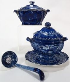 Lot of 3 Blue Staffordshire 2 Tureens Eng, c. 1800