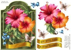 Hibiscus Flower on Craftsuprint designed by Diane Furniss - A Shaped Card Front, with a step by step to make up. With a choice of sentiments making them versatile. These sheets like all of my sheets are exclusive to CUP. Best printed on good quality Photo paper to bring out the rich colours.  - Now available for download!