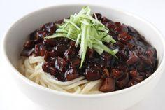 Jjajangmyun (Korean Black Bean Sauce Noodles)  (jjajangmyeon noodles, pork belly, daikon, zucchini, black bean paste, potato starch powder, cucumber)