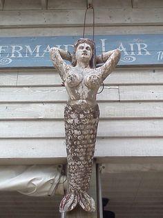 Carved Wood Mermaid Standing Mermaids Statue Mermaid Sculpture