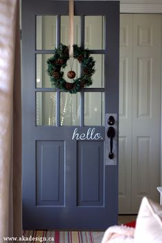 Fun front door hello sign and love the door color eclecticallyvintage.com lots of great ideas for every room!!!!!