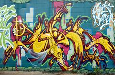 Blue and Yellow Graffiti Mural Wallpaper