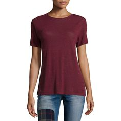 rag & bone/JEAN Concert Short-Sleeve Tee ($135) ❤ liked on Polyvore featuring tops, t-shirts, burgundy, relaxed fit tops, burgundy t shirt, short sleeve tops, short sleeve t shirts and relax t shirt
