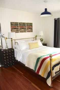 Love the Hudson Bay blanket. Heather & Eric's Cozy Victoria Cottage