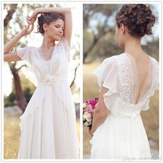 Elegant A-Line Ivory Flower Cap Sleeve V-Neck Chiffon Open Back Wedding Dresses UK Wedding Dresses, Ivory Wedding Dress, Open Back Wedding Dress, V Neck Wedding Dress, Wedding Dress Chiffon Wedding Dresses 2018 Outdoor Wedding Dress, Open Back Wedding Dress, Wedding Dress Chiffon, Elegant Wedding Dress, Wedding Dresses Plus Size, Ivory Wedding, Bridal Dresses, Lace Chiffon, Dress Lace
