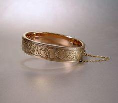 Antique Victorian Gold Filled Bangle Bracelet Bates Bacon Vintage 1880s Jewelry. $69.00, via Etsy.