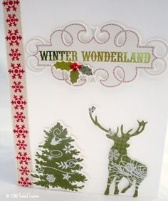 Handmade Christmas Card with Reindeer and snowflake ribbon | FadedLeaves - Cards on ArtFire