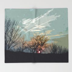 Wooded Sunset Throw Blanket