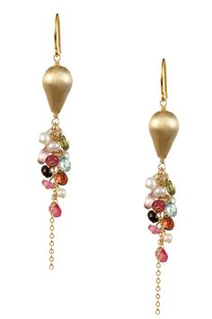 Freshwater Pearl, Tourmaline & Green Amethyst Earrings on HauteLook