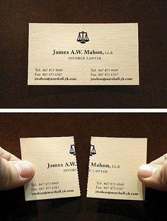 Tarjeta de un abogado divorcista. Sencillamente genial.