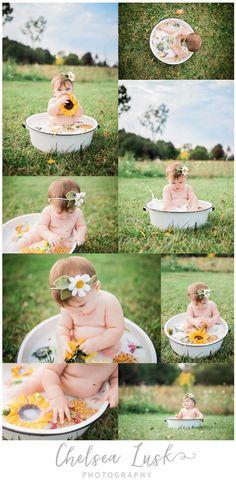 6 month pictures, baby girl, milk bath, 7 months, sunflower, little kid, childhood photography, kids photography, baby photography, fall colors, floral headband, chelsealusk,com