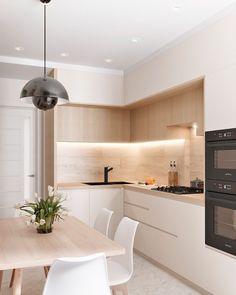 Kitchen Room Design, Kitchen Cabinet Design, Modern Kitchen Design, Kitchen Layout, Home Decor Kitchen, Interior Design Kitchen, Home Kitchens, Small Modern Kitchens, Room Kitchen