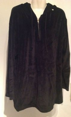 New Jones NY Sport Black Plush Velour Sweatshirt Hoodie Top $65 Size XL  $13.99