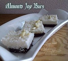 """These are """"healthy""""-ier than purchasing an actual Almond Joy chocolate bar but OH SO sweet!!! Very rich!! I cut them into 1"""" squares and wow - one was enough for me!! LOL   Almond Joy Bars   Base: 1/2 cup unsalted butter 1/2 cup organic coconut oil 1/4 cup + 3 Tbsp granulated Swerve, Truvia or Stevia 6 Tbsp cocoa powder 1 teaspoon Vanilla extract 1/4 cup raw honey  Topping: 1-2/3 cup sweetened shredded coconut 7 Tbsp organic coconut oil 1/3 cup granulated Swerve, Truvia or Stevia 1-1/2 ..."""