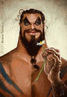 Jason Momoa aka Khal Drogo by Bruno Tess Jason Momoa, Art Timeline, Celebrity Caricatures, Khal Drogo, Funky Fashion, Fantasy Characters, Tv Shows, Funny Memes, Animation