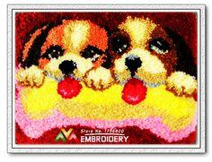 New Latch Hook Rug Kits DIY Needlework Unfinished Crocheting Rug Yarn Cushion Mat Embroidery Carpet Rug Dog Brothers Home Decor