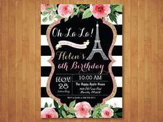 Invitación de cumpleaños de Paris. Invitación de la Torre Eiffel. Invitación de…