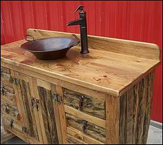 photo of top side view bathroom vanity rustic log bathroom vanity rustic log southwestern vanity with copper vessel sink and rustic bronze faucet