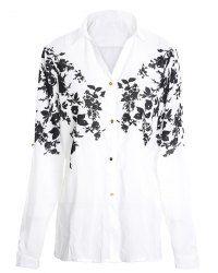 Turn Down Collar Long Sleeve Floral Print Trendy Women's Shirt