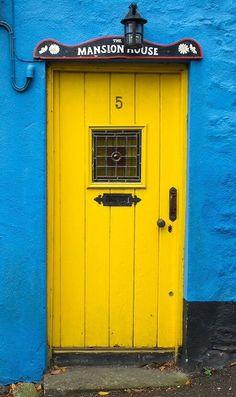 County Cork, Ireland: Colorful doors on the streets of Kinsale Cool Doors, Unique Doors, Knobs And Knockers, Door Knobs, Doors Galore, Irish Cottage, Yellow Doors, Mellow Yellow, Blue Yellow
