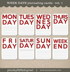 WEEK DAYS Journaling Cards for Scrapbooking or Project Life. $4 via Plucky Momo