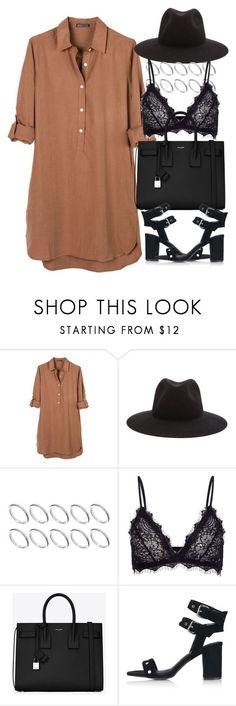 Robe chemise camel + accessoires noirs