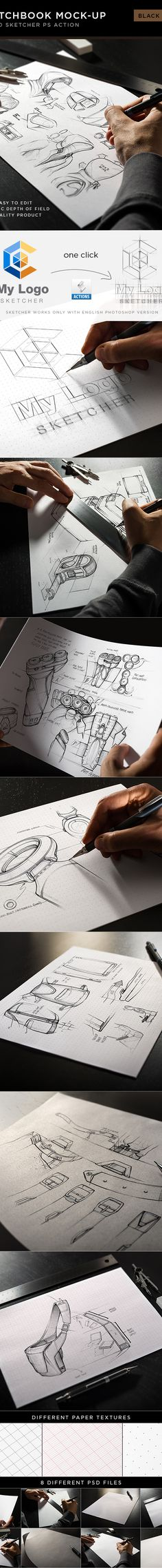 https://www.behance.net/gallery/17465283/Sketchbook-Mock-Up-Black-Edition Sketch PS Action and Templates
