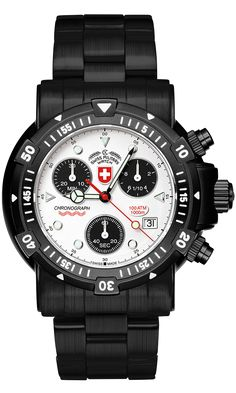 The Dive Chronograph Watch of SEEWOLF 1 NERO by CX Swiss Military Watch, maker of Feet, world record dive chronograph! Cheap Watches For Men, Vintage Watches For Men, Cool Watches, Men's Watches, High End Watches, Casual Watches, Tactical Watch, Seiko Men, Sport Watches