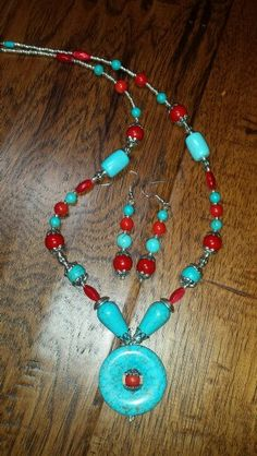 Turquoise and red coral beads with stones with glass beads by Jannice Arbogast
