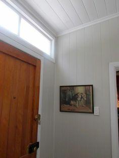 Back enclosed porch, Resene  1/4 Black White trim and Resene Half Truffle on the walls.
