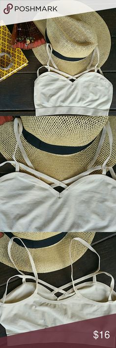 Ivory Bralette Exellent quality materials  90 % nylon  10% spandex  Trendy, you need this  One size fits all Intimates & Sleepwear Bras