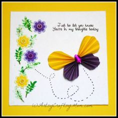 Accordion Fold Paper Butterfly card  - Consider this for volunteers in class from the students!