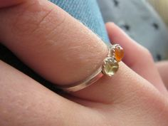 Tiny Double stone ring  Stacking Agate and Citrine Ring by bgezunt