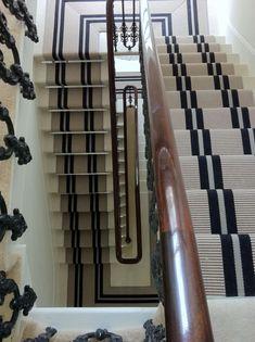 Modern Runner Carpet Decor Ideas For Stairs - Victorian Hallway, Edwardian Staircase, Striped Carpets, Staircase Runner, Black Staircase, Carpet Decor, Carpet Ideas, Stair Landing, Stair Rods
