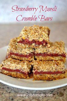 Strawberry Muesli Crumble Bars with Seven Sundays muesli