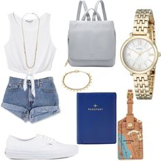 summer city exploring by rach-carswell on Polyvore featuring polyvore fashion style Monki Vans FOSSIL vintage