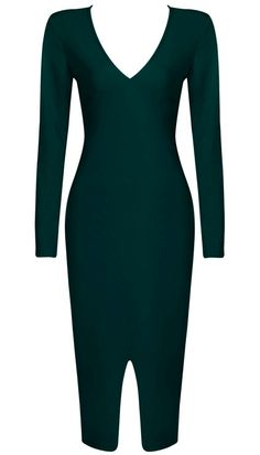 Dream it Wear it - Long Sleeve Front Slit Midi Bandage Dress Green, £79.95 (http://www.dreamitwearit.com/bandage-dresses/long-sleeve-front-slit-midi-bandage-dress-green/)