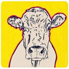 Koe / Cow Tekening met potlood en stift, drawing with ink and pencil