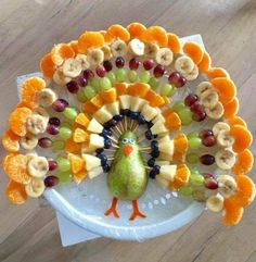 "Plant based thanksgiving fruit Plant based fruit ""turkey "" for Thanksgiving Cute Food, Good Food, Yummy Food, Awesome Food, Fruit Turkey, Turkey Fruit Platter, Fruit Plate, Turkey Veggie Tray, Cheese Turkey"