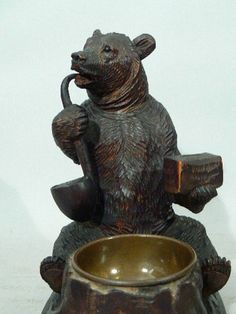 """Antique Victorian Black Forest carved wood pipe smoking bear 7.5"""" total height ,"""