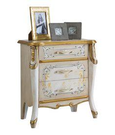 Comodino elegante Beautiful Line. Laccato e decorato con foglia oro, Art. 6714. Comodino per camera da letto, mobili di lusso. http://www.styledesign.it/prodotto/comodino-beautiful-line/