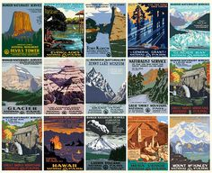 vintage famous Work Projects Administration (WPA) posters. WPA was a government program that came about under FDR to employ citizens in public works it also hired people who were artists.