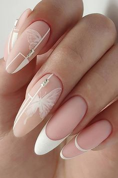The Best Wedding Nails 2019 Trends ❤ wedding nails 2019 trendy nude white french geometry and butterfly viart_master Diy Wedding Nails, Wedding Nails Design, Bridal Nails, White Nail Art, White Nails, White French Nails, White Almond Nails, White Nail Designs, Nail Art Designs