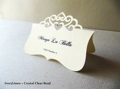 Place Card  Elegant Tiara Die Cut Wedding by JutingDesignStudio, $1.35
