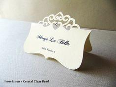 Place Card Elegant Tiara Die Cut Wedding by JutingDesignStudio, $1.35