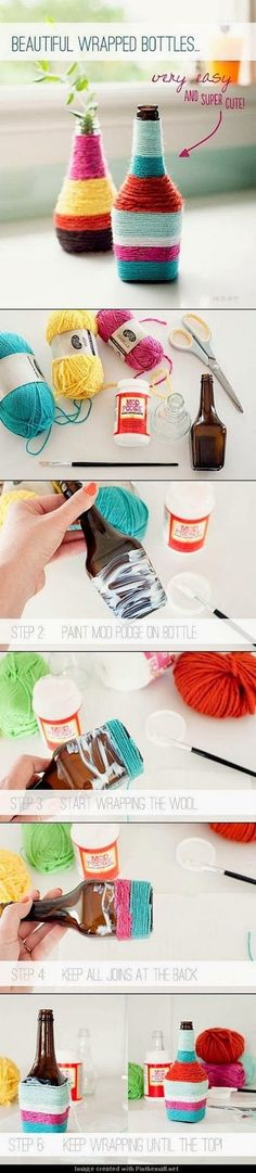 Crafts to Make and Sell - Beautiful Wrapped Bottles DIY - Cool and Cheap Craft P. - Crafts to Make and Sell – Beautiful Wrapped Bottles DIY – Cool and Cheap Craft Projects and DIY - Crafts For Teens To Make, Crafts To Sell, Diy And Crafts, Crafts For Kids, Arts And Crafts, Sell Diy, Crafts Cheap, Upcycled Crafts, Yarn Crafts