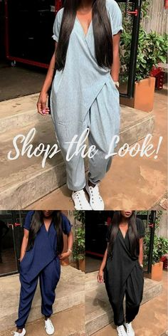 Shop the latest plain short sleeved wrapped jumpsuit at cost effective price. More stylish… Ethnic Fashion, Look Fashion, African Fashion, Autumn Fashion, Mode Outfits, Casual Outfits, Fashion Outfits, Womens Fashion, Salopette Jeans
