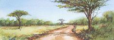 Bush Road; watercolour; 29x10cm Watercolours, Watercolor Paintings, Wildlife, Country Roads, Water Colors, Watercolour Paintings, Watercolor Painting