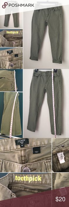 J. Crews toothpick skinny stretch ankle jeans J Crew Toothpick stretch Women Sz 28 Ankle skinny Jeans Green.Brand: J Crew Condition: This jeans are in very good used condition.  Item Specifics: J Crew toothpick ankle pants Material: 99% Cotton  1% Spandex  Color:  Olive green Size: women size 28 Rolled up cuff or down,choice is yours to wear. Current style. Measurements: taken laying flat. Check them for proper fitting b4 buying. No tear rip stain.  Smoke-pet free.  Check out photos for…
